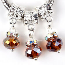 5PCS Dangle Crystal Brown Faceted Glass Charms Spacer Beads Fit Euro Bracelets
