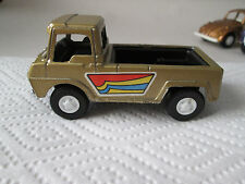 1969 Tootsietoy Gold Pickup Sports Truck with rare black interior/base. MINT
