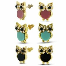 Women's Set of Three Gold-Plated Crystal Owl Stud Earrings