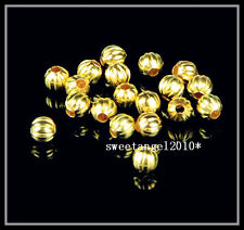 100Pcs Gold plated charm striped spacer beads for Jewelry Design Making 5mm S4