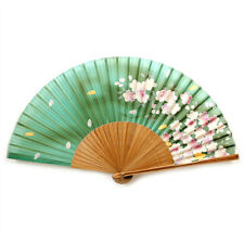 "SILK HAND FAN Green 8"" Folding Pocket Purse Asian Japanese NEW Floral Flowers"