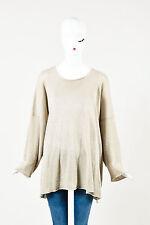 Eskandar Beige Linen Knit Oversized LS Rounded Neckline Pullover Sweater