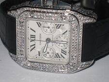 Mens Cartier Santos 100 XL Chronograph Diamonds Everywhere