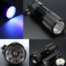 9 LED  UV Ultra Violet Flashlight Torch Portable AAA Battery Money Checker - UK