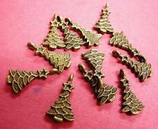 12pc antique bronze finish christmas tree charm-1791