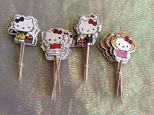 Hello Kitty Picks / Flags Party Cupcake Decorations X 18