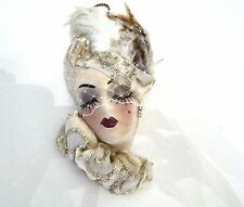 Glamour Girl Lady Head Vase Wall Hanging - Veiled White & Gold