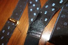 Albert Thurston Made in England Black Ribbed Silk Woven Dollar Signs Suspenders