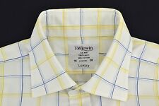 "TM LEWIN Blue Yellow Check Shirt 16""/35"" LUXURY Regular Fit Double Cuff"