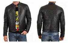 Men's Quilted Motorcycle Black Genuine Lambskin Leather Biker Jacket