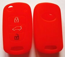 RED SILICONE CAR FLIP KEY COVER FOR KIA RIO SORENTO SPORTAGE PICANTO SOUL AMANTI