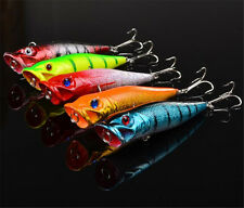 Lot 5pcs Plastic Popper Fishing Lures Bass Crankbaits Tackle 9.5cm 12g 6# Hook