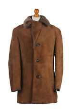 Men's Sheepskin Coat Suede Leather Bomber Flying Jacket Brown Chest 46'' C275
