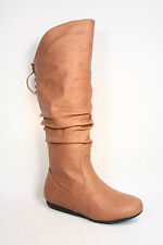 Womens Flat Wedge Round Toe Zipper Lace Mid-Calf Knee High Boot Shoes Size 5 -10