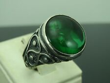 Turkish Handmade Ottoman Style 925 Sterling Silver Emerald Stone Men's Ring Sz 9