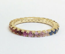 R122 Genuine 9ct Yellow Gold Natural Rainbow Sapphire Full Eternity Ring size N