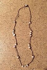 Freshwater Pearls And Brown Leather Cord Necklace