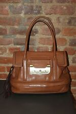 Authentic DIANE VON FURSTENBERG Brown Leather HARPER LAUREL Satchel Shoulder Bag