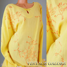 VTG Yellow Embroidered Tassel Summe Tunic Blouse top shirt Sz XL