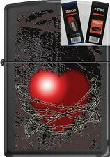 Zippo CM8194 Barbed Wire Heart Lighter with *FLINT & WICK GIFT SET*