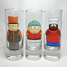 South Park Double Shot Glass Set - Chef Cartman & Rare Jimbo Glasses 1997 / 1998