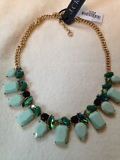 J Crew Spearmint Leaves Chunky Shades Of Green Statement Necklace Fabulous! Nwt!