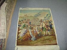 "VINTAG HAND STITCHED WOOL-WORK TAPESTRY GOBELIN FRENCH SCENE 23"" X 28"""