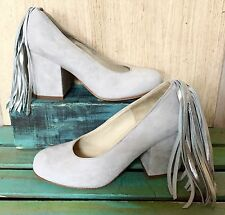 NEW Anthropologie Ouigal gray Suede Silver Fringed Heeled Pumps Shoes 37/6.5-7