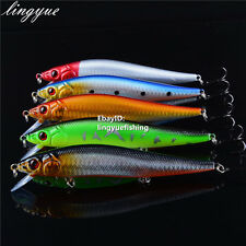 14cm 5.5inch Lot 5 Minnow Fishing Lures Floating Rattles Bass CrankBait 23g