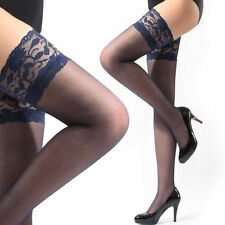 Women's 13cm / 5.1 inch Width Lace Top Sheer Thigh High Silk Stockings  Blue