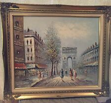 CAROLINE BURNETT PARIS STREET SCENE OIL ON CANVAS LARGE PAINTING ORIGINAL ART