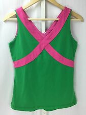 Lululemon Fittness Yoga Running Green & Pink Tank Top Fitted Stetch Style Sz 4-6