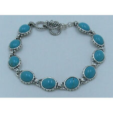 .925 Sterling Silver Natural TRUE Kingman Turquoise Linked Bracelet