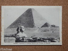 R&L Postcard: Cairo, Pyramids of Cheops Sphinx and Temple of Cheffren, Egypt