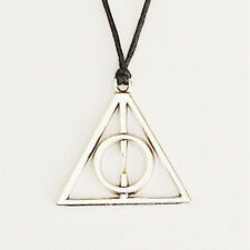 Harry Potter Deathly Hallows Charms Silver Pendant Black Cord Choker Necklace