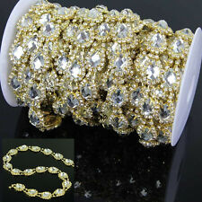 1Yard Gold Tone Clear Crystal Rhinestone Chain Applique Trimmings Costume Sewing