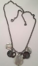 Silpada Oxidized Sterling Silver Coin Mother Of Pearl Charm Necklace N1830
