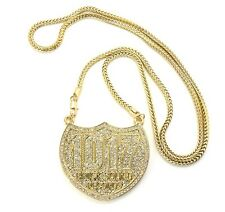 "ICED OUT 1017 BRICK SQUAD PENDANT-4 & 36"" FRANCO CHAIN"