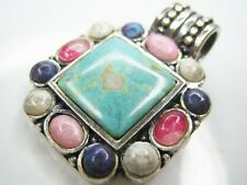 VINTAGE OLD PAWN 27MM NATURAL TURQUOISE 925 STERLING SILVER PENDANT