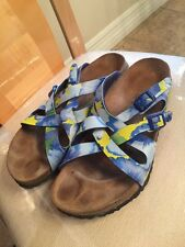 40 L 9 Birkenstock BIRKIS CALAIS TROPICAL GARDEN Blue HIBISCUS BirkoFlor Sandals