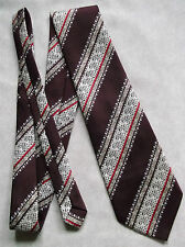 VINTAGE 1960'S 1970'S WIDE TIE MENS NECKTIE BURGUNDY RED WHITE STRIPED RETRO
