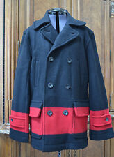 New Polo Ralph Lauren Men's 100% Merino Wool Striped Blanket Peacoat Coat Jacket