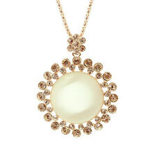 |SALE|18K Gold Plated Opal Crystal Sunflower Sweater Chain Pendant Necklace