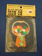 Vintage Blue Denim Orange & White Gumball Candy Machine Iron On Patch Sealed