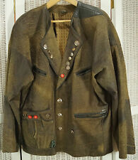 "Oktoberfest Vintage Leather Jacket with Bavarian Coat of Arms 52"" Tracht Janker"