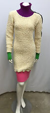 VINTAGE BETSEY JOHNSON DRESS GREEN PURPLE PINK COOL ZIPPERED SHOULDER NUBBY 0S S