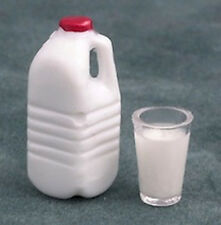 Litre of Milk & Filled Glass Dolls House Miniature Kitchen Food Drink