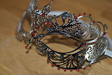 Venetian Silver  Metal Mask Filigree Masquerade Red Diamante Ball. Prom/Ball. UK
