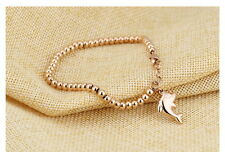 Rose Gold Cute Dolphin Charm Beads Chain Bracelet