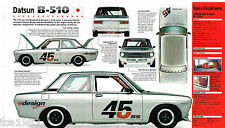 DATSUN B-510 E.Williams RACING SPEC SHEET/Brochure:SCCA